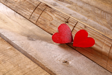 Valentines day background. hearts on wooden table