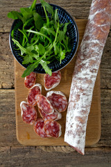 spanish salami and rucola