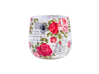 Picture of the decoupage cup on white background. Handmade decoupage cup close up. Red flowers decoupage pattern.