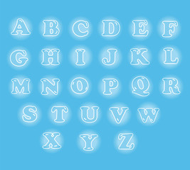 cute English alphabet set in glowing bubble