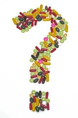 Pills, question, symbol, symbol for the questionable future of m