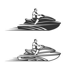 Set of man on Jet Ski isolated  white background