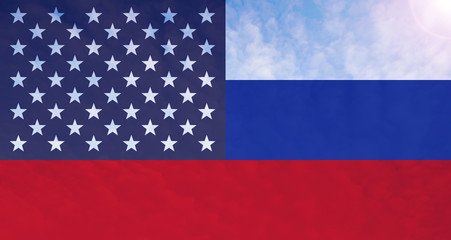 Connected flag of America and Russia
