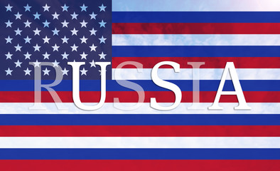 Combined Russian and American flag with inscription Russia and d