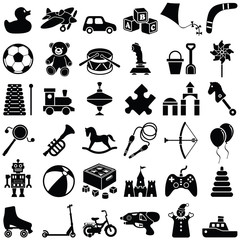Toy icon collection - vector silhouette illustration
