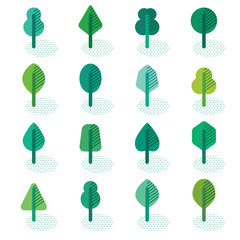 Set of different kinds of forest trees geometric icons with shadow