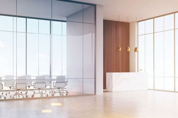 Corner of office. White reception table with a paper cup of coffee standing in a hall. Conference room. Glass and wooden wall. 3d rendering. Mock up. Toned image