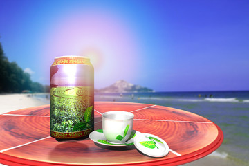 3D rendering, Beverage green tea can, cup for tea, on the wooden