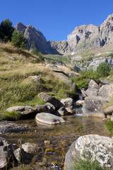Stream of clear water in the mountains in Pyrenees, Spain