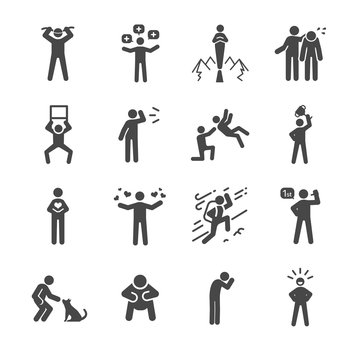 Character and personality icons set