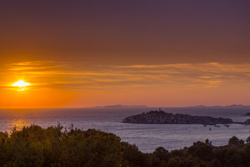 Sunset on the Adriatic Sea in Croatia, in summer