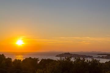 Sunset on the Adriatic Sea in Croatia, in summer