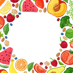 Template design booklet with the decor of the fruit. Circle pattern of natural foods, fruits, vegetables and berries. Frame with decor vegetarian food for poster, banner. Vector.
