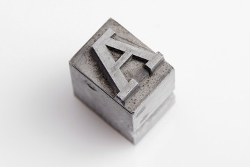 Lead letter A from old letterpress