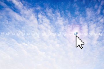 Blue sky with white clouds icons depicting various weather and c