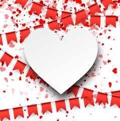 Fototapete - Love valentine's background with flags.