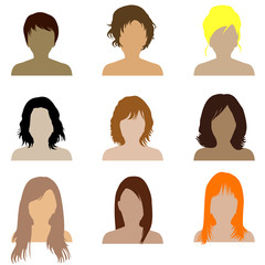 Collection of women with different types of hairstyle