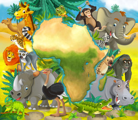 Cartoon african animals - with map - frame for title - illustration for children