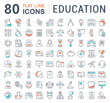 Set Vector Flat Line Icons Education