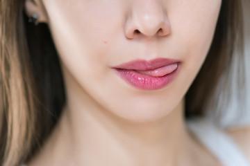 Beautiful female lips, close up. Selective focus.