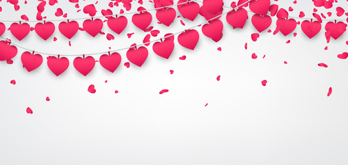 Fototapete - Love valentine's banner with hearts.