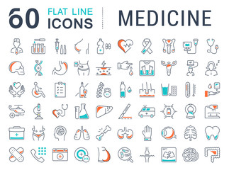 Set Vector Flat Line Icons Medicine