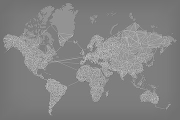 Fototapete - Abstract Telecommunication World Map - Detailed EPS10 vector design - Organized layers