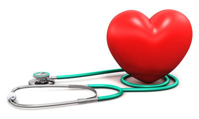Medical stethoscope and red heart shape
