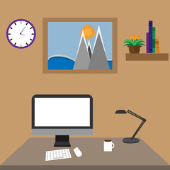 Workspace interior with picture and books