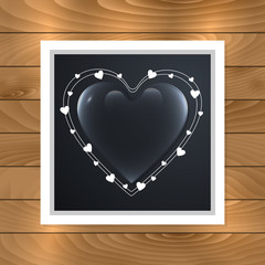 Glass heart in wooden frame. Valentines card template for greeting