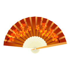 Folding fan. With pattern sakura. illustration