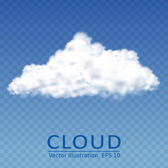 Vector cloud on a transparent blue sky. Vector collection 3.