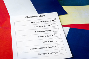 Elections ballot with France flag background. Selection of a candidate from the The Republicans