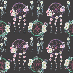Seamless pattern with floral dreamcatchers, hand drawn isolated in watercolor on a dark background