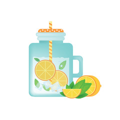 Fresh homemade lemonade in vintage mason jar with orange, ice, mint and orange slice.