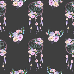Seamless pattern with floral dream catchers, hand drawn isolated in watercolor on a dark background