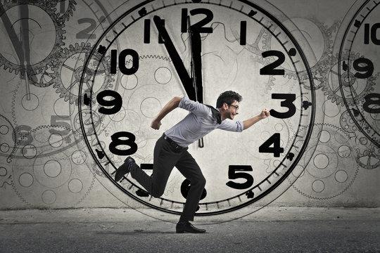 Man running on time