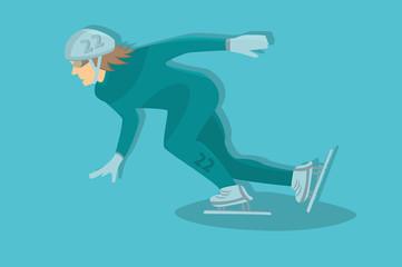 short track sportsman. vector character. cartoon
