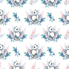 Seamless pattern with watercolor panda, blueberry and plants, hand drawn on a white background