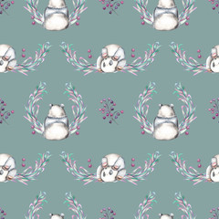 Seamless pattern with watercolor panda, berries and plants, hand drawn on a dark blue background
