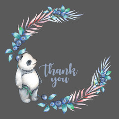 Illustration, wreath with watercolor panda, blueberry and plants, hand drawn isolated on a dark background, invitation, greeting card