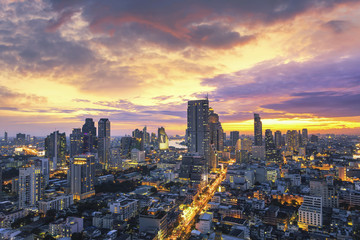 Bangkok city at sunset, Mahanakorn tower, Silom area, Thailand