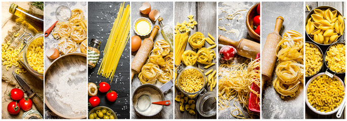 Food collage of italian pasta .