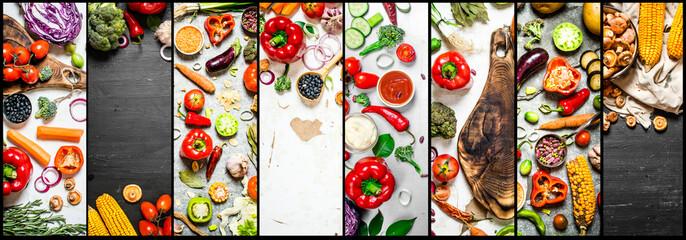 Food collage of slice vegetables .