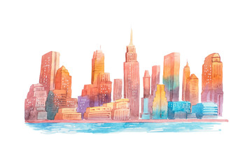 Watercolor drawing evening city at sunset cityscape aquarelle painting.