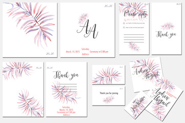 Template cards set with watercolor tender purple branch; wedding design for invitation, number, RSVP, Thank you card, for anniversary day