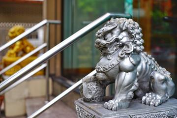 Chinese lion sculpture belief.