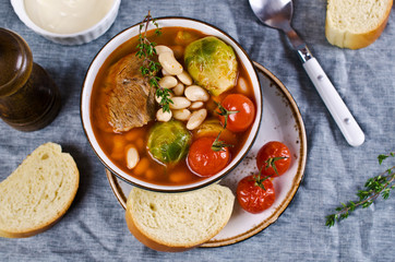 Meat soup with beans