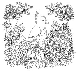 Vector Illustration Zentangl Parrot Flowers Dudling Book Coloring Anti Stress For Adults