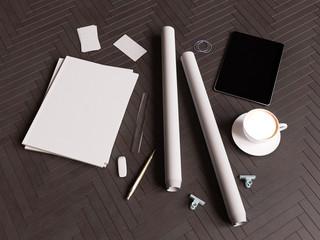 Branding mock up for your design presentation. 3D illustration. High quality